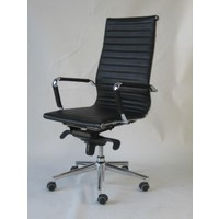 Oslo High Back Black Leather Chair with Arms 2 Way Gas Lift & Aluminium Base Office Desk Chairs