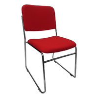 Evo Rod Visitors Office Chair Chrome Red