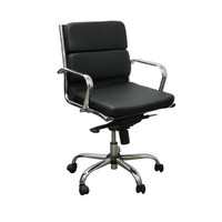 Computer Deluxe Padded Seat Executive Office Chair Jupiter Chrome PU Black