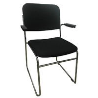 Evo Rod Visitors Office Chair Chrome Black with Arms