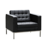 Como Visitors Leather Arm Chair Black