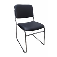 Evo Rod Visitors Office Chair Chrome Black Vinyl Padded Seat