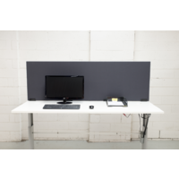 Desk Partition Office Furniture Workstation Divider with White Clamp Brackets 450mm X 1800mm Charcoal