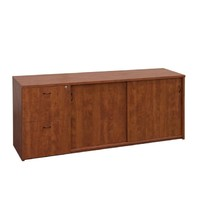 Merlin Sliding Doors Buffet & Twin Filing Drawers Cabinet Wild Cherry Ironstone 1500 W x 457 D x 720mm H