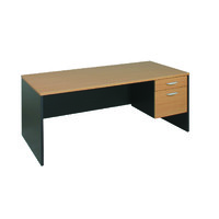 Executive Desk With Fixed Pedestal Beech Ironstone Excel 1800 W x 750 D x 750mm H