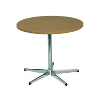 Meeting Round Tables Chrome 5 way Base Beech Top Excel 1200 D x 720mm H