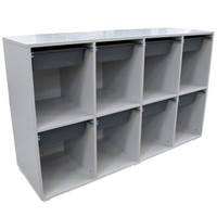8 Bag Storage Unit with Tote Boxes Educational Furniture Storewell 1600 x 500 x 975mm H