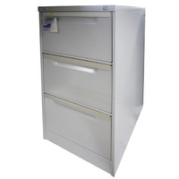 Coform Office 3 Drawer Storage Office Steel metal Filing Cabinet Silver Grey
