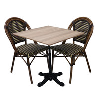Paris Chair, Della Base, Sliq Plum Natural 700mm Square Tabletop Package