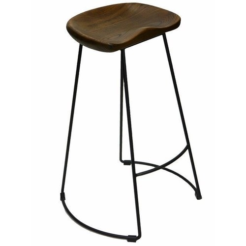 Timber Kitchen Stools: Massey Vintage Kitchen Stool Timber Rustic Seat Metal Legs
