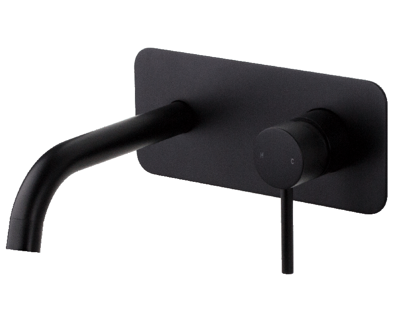 Brasshards Wall Plate Mixer Tap and Spout Matt Black Anise 11SL755ML