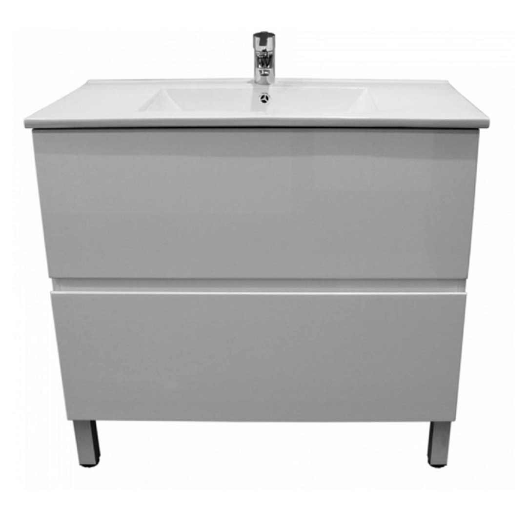 Castano Bathroom Vanity Cabinet 2 Drawer with Kickboard Gloss White Firenze 900