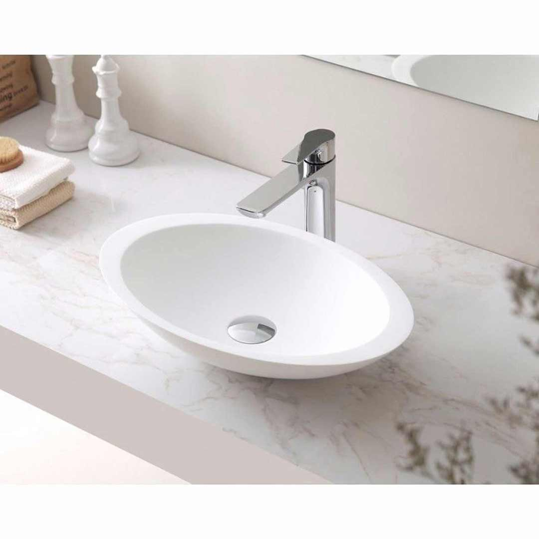 SI Aust Group Marble Stone Basin Above Counter Oval Shape Matt White Phoenix SI A23-500