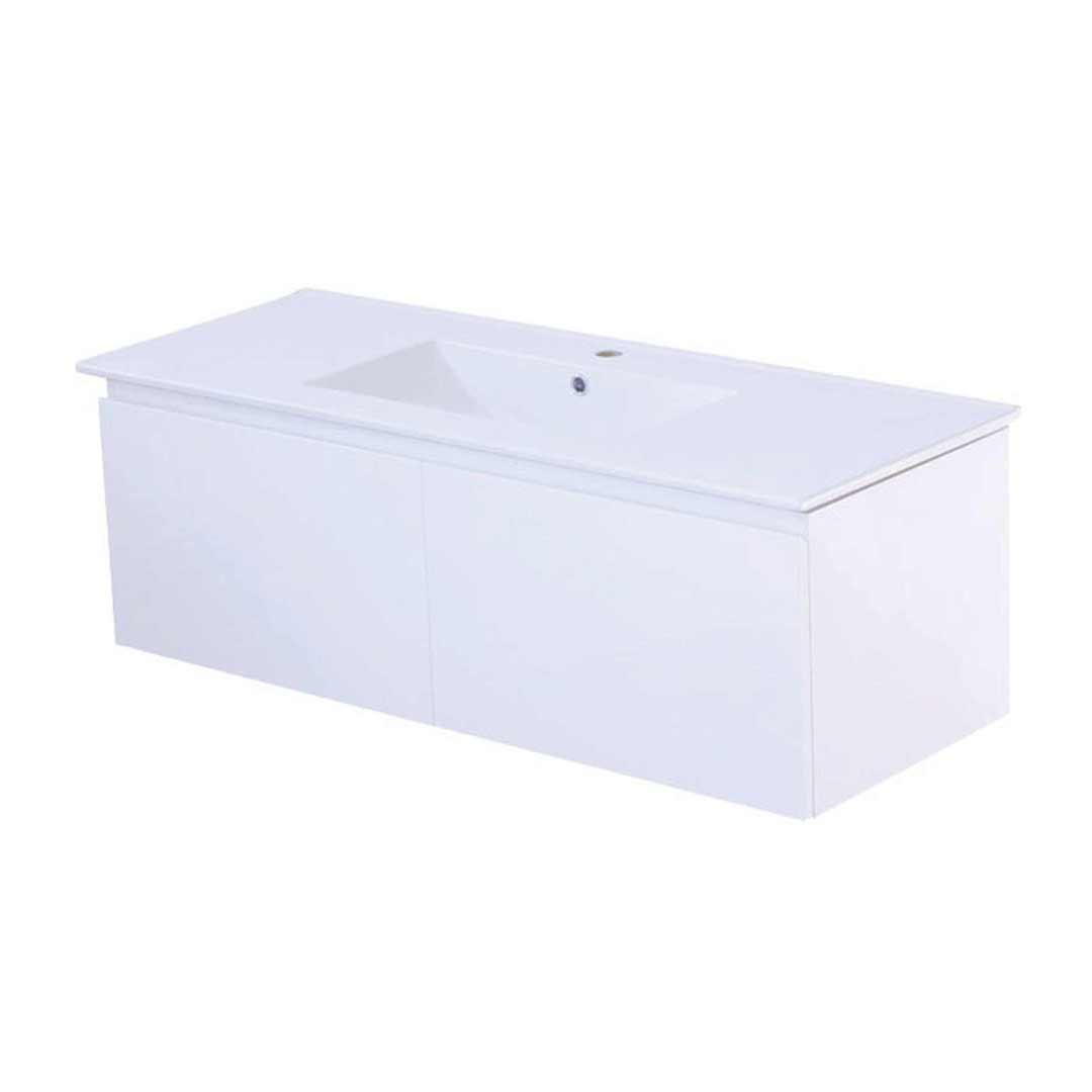 Castano Bathroom Vanity 1200 Mesina Wall Hung Gloss White MES12WH