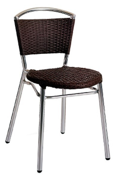 Norden Aluminium Chair Outdoor Stackable Wicker with Wire Seat Moka