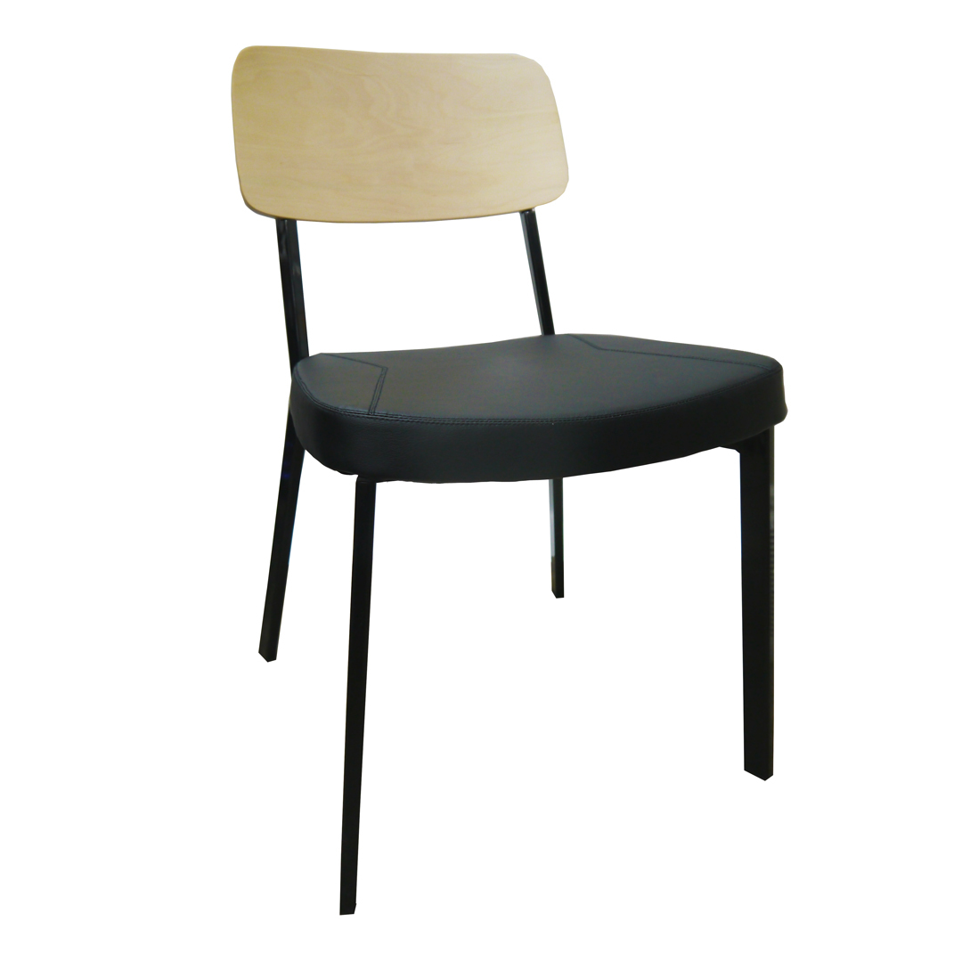 Estelle Dining Chair with Padded Vinyl Seat Black Oak