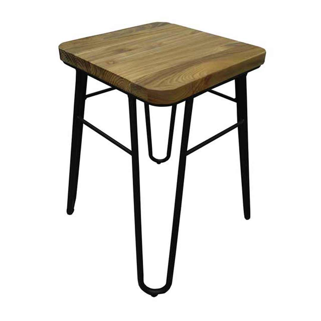 Loop Black Metal Hairpin Bar Stool with Ash Seat Dining Chair Height 460mm