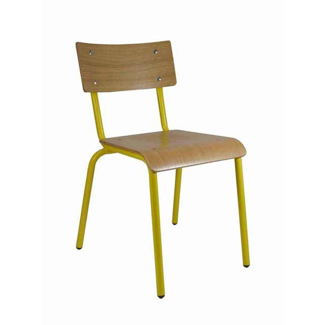 Skinner Cafe Restaurant Chair Retro Chairs Oak/Duck Yolk Yellow