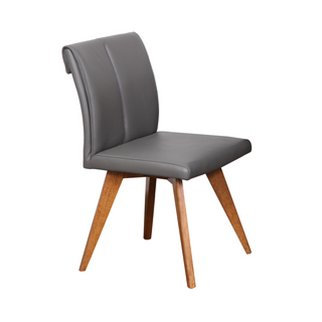 Hendriks Dining Chair Commercial Charcoal Leather Padded Seat Teak Timber Legs