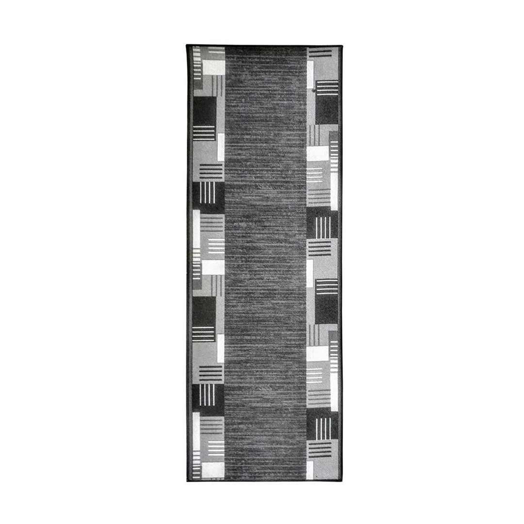 Over Locked Runner Rubber Backed Hall Entrance Floor Carpet 4m x 67cm wide Montana Grey