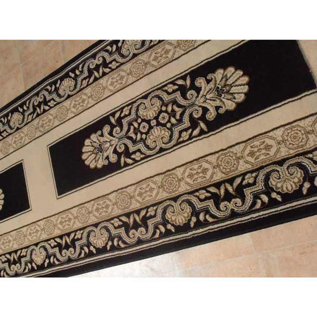 Saray HALLWAY Palace Hall Runner Black Cream Border 80cm wide