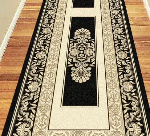Black Foyer Rug : Hall carpet mat hallway runner rug black border cm wide