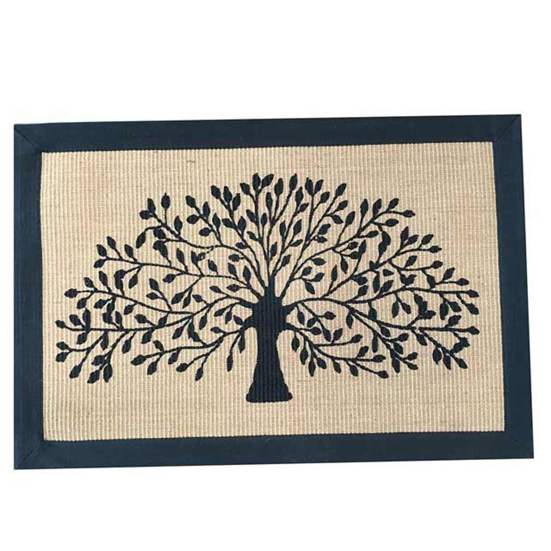 Tree Door Mat Jute Canvas Black Border 60x90cm
