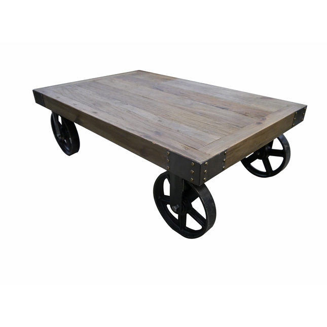 Coffee Table Rustic Industrial Timber Top Metal Wheels 1100mm Wide