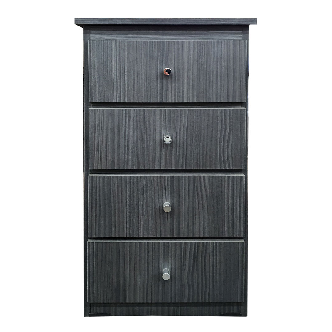 4 Drawer Chest of Drawers  420mm Wide Bedroom Clothes Storage Unit Riteway Budget Melamine Charcoal