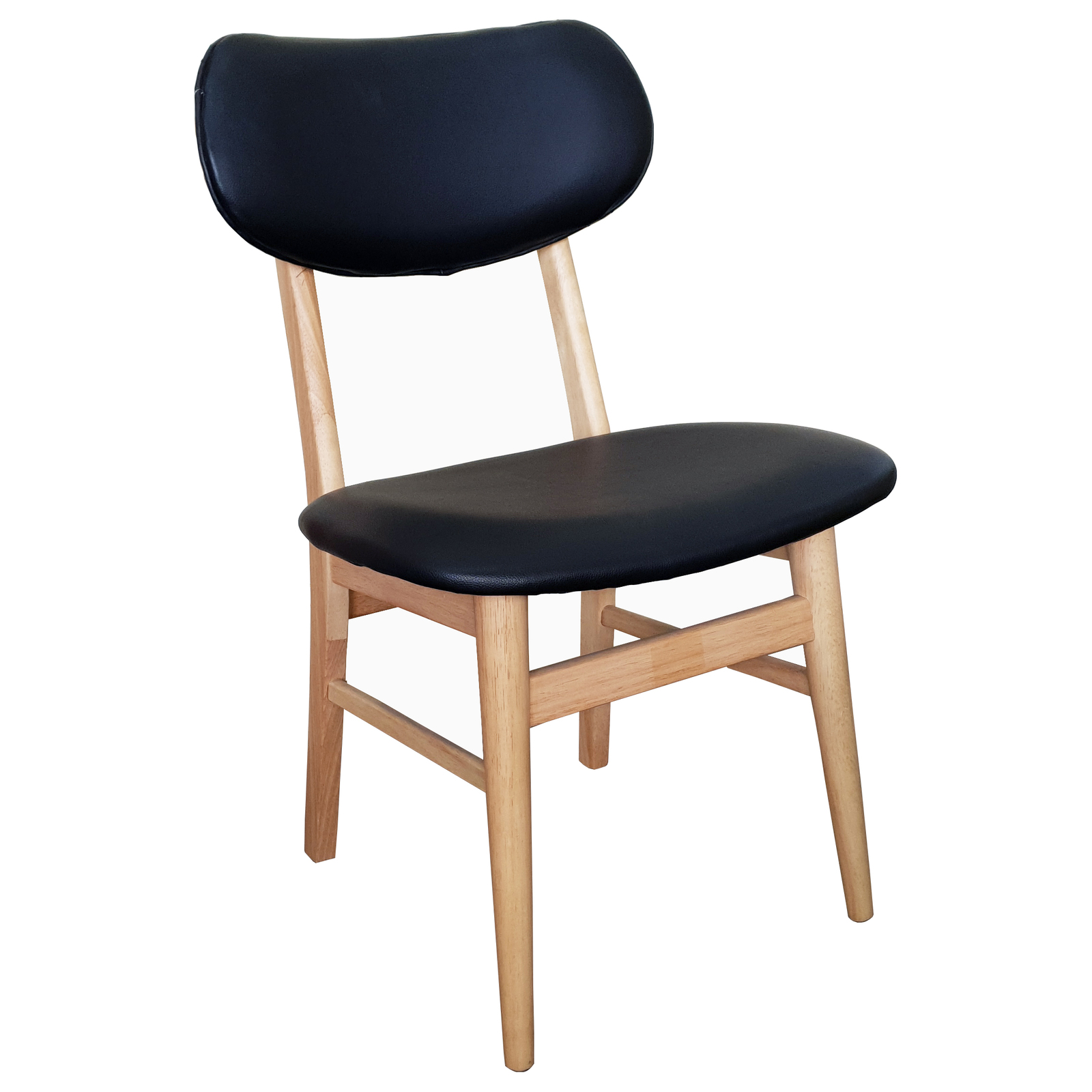 Gangnam Timber Dining Chair Black Vinyl Padded Seat Natural Frame