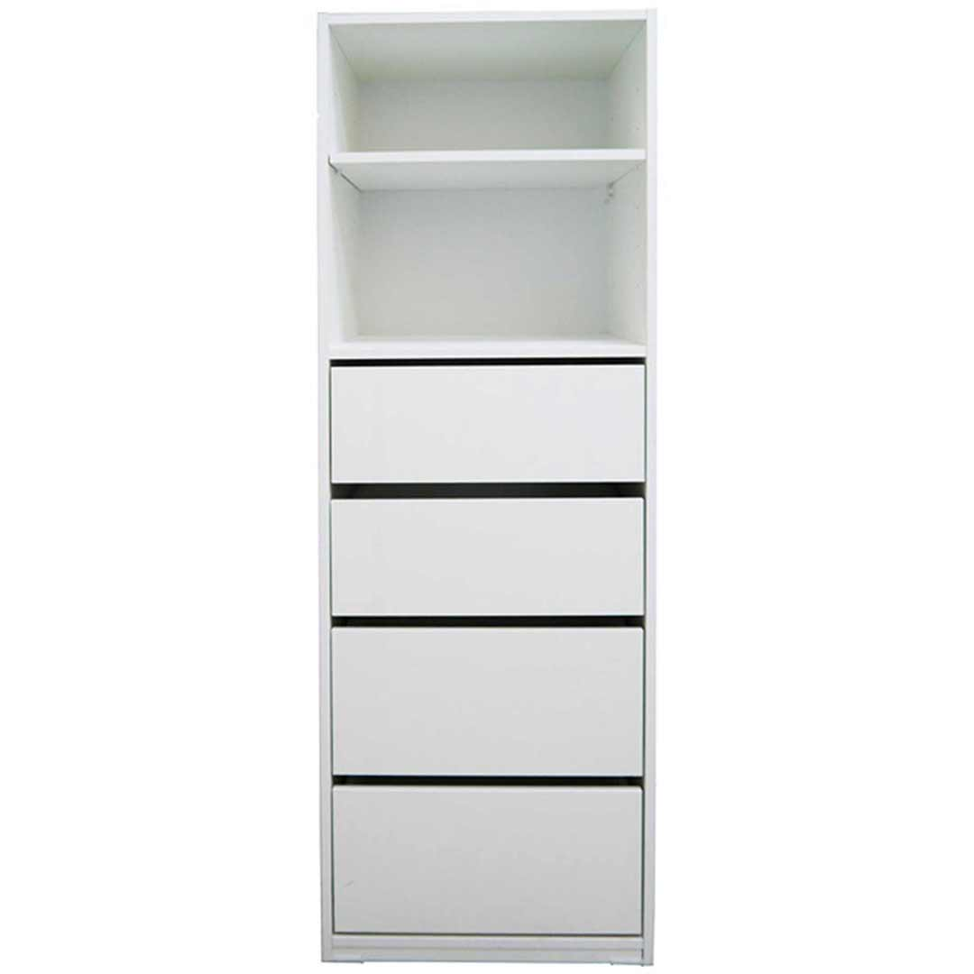 4 Drawer 2 Shelving White Combo Storage Unit Clothes Wardrobe Robe Insert Riteway No 2 50(W)cm x 150(H)cm