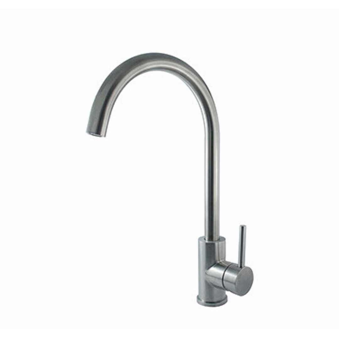 Linkware Elle SST874B Gooseneck Sink Mixer Stainless Steel
