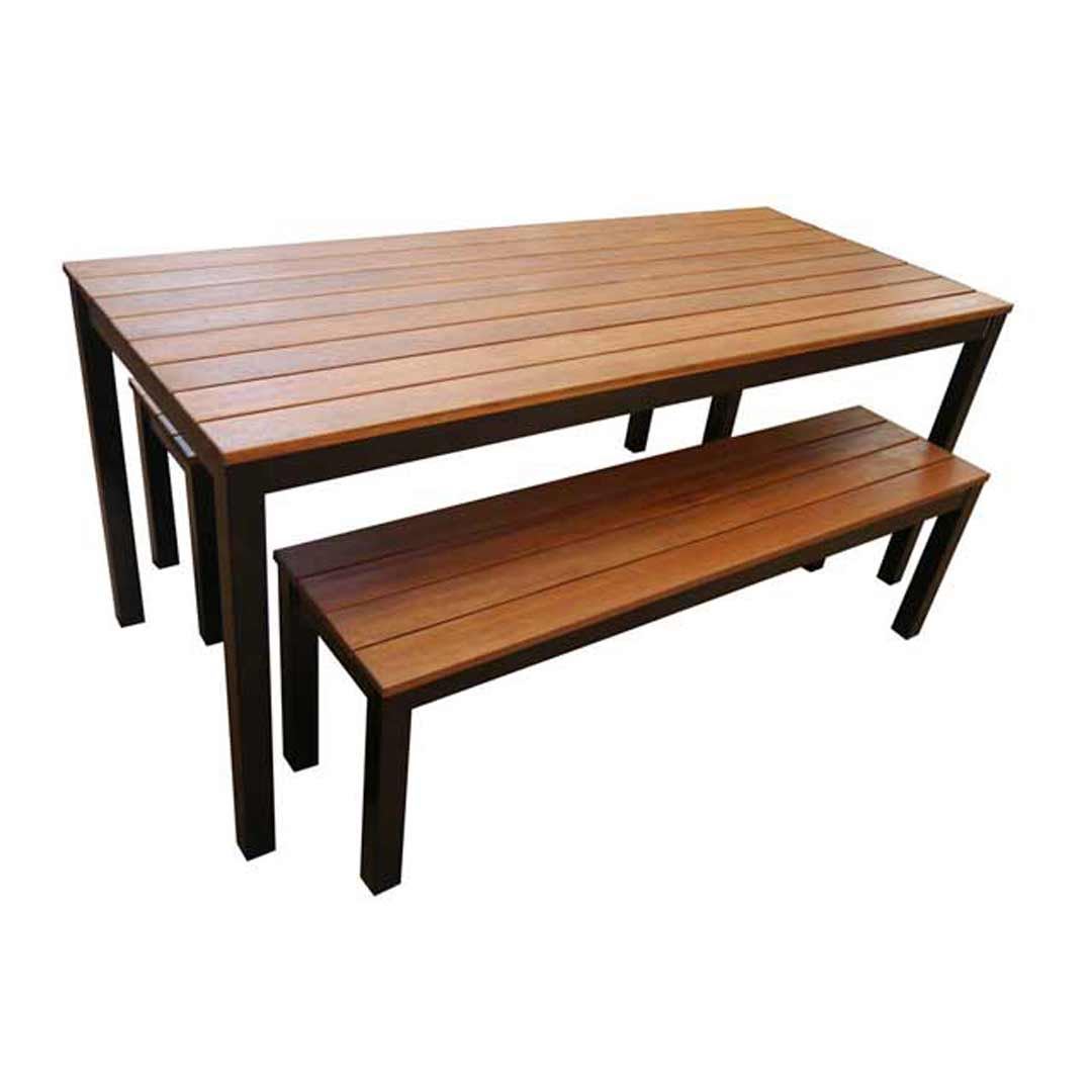 Dining Table and Bench Seats Galvanised Black 3 Piece 1800mm Wide Setting Beer Garden Outdoor Furniture Set