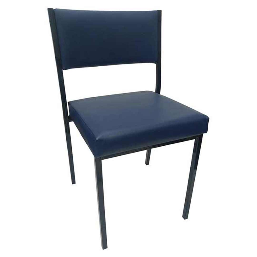 Square Tube Padded Vinyl Dining Visitors Chair Navy