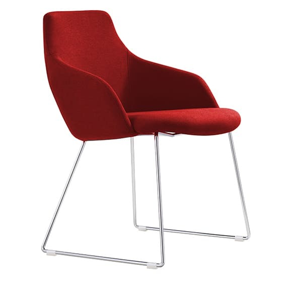 Style Ergonomics Visitors Chair Sled Base Seating Red OSCAR-R