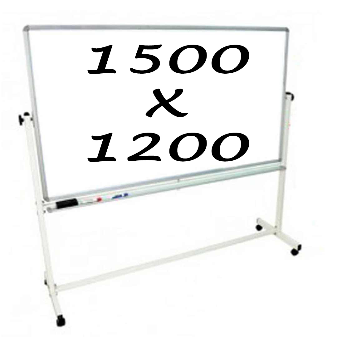 Whiteboards Direct Mobile Whiteboard Double Sided 1500 X 1200mm Pivoting Commercial Magnetic Writing Board