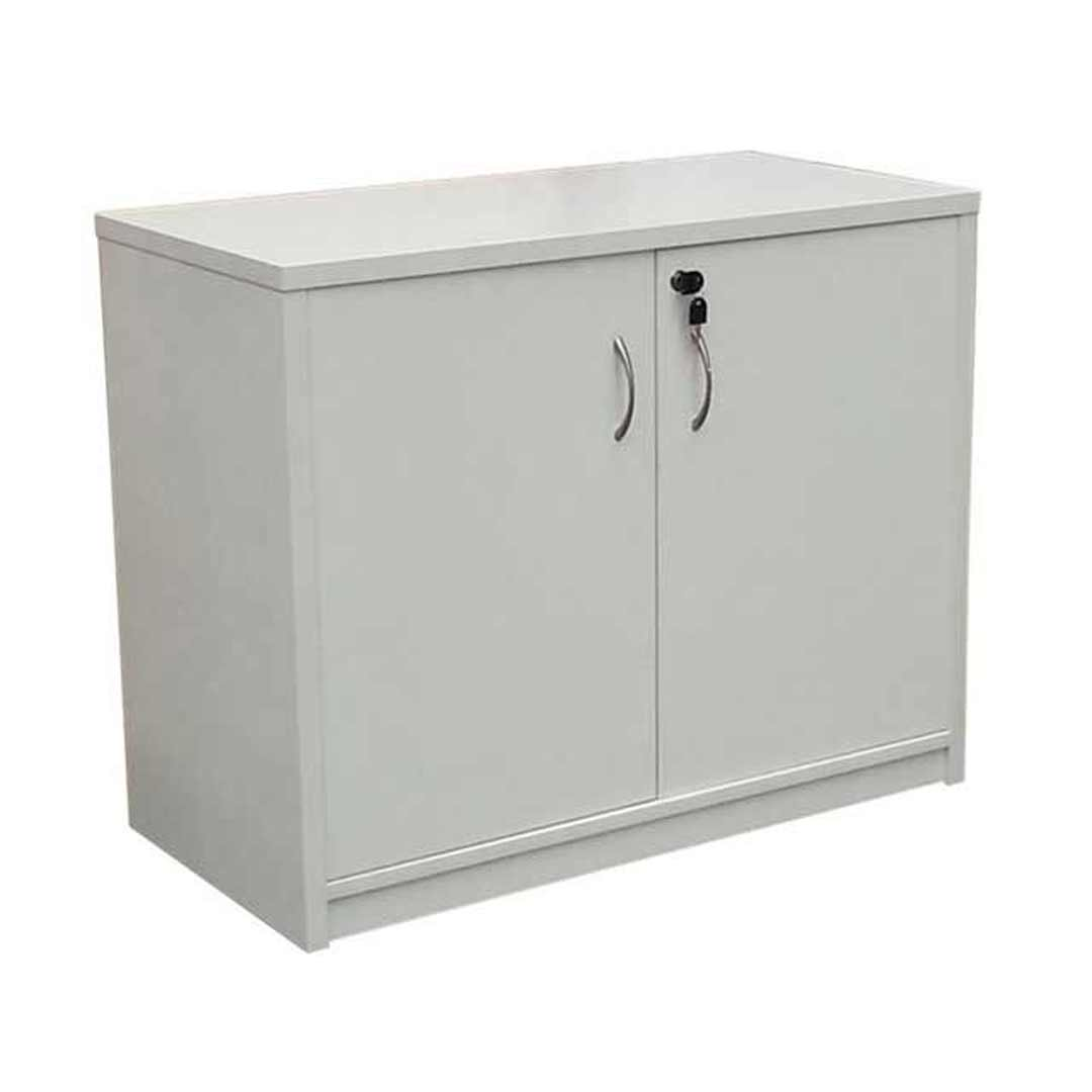 Buffet 2 Doors Lockable Cabinet 720mm H x 900mm W Cupboard Beech Charcoal