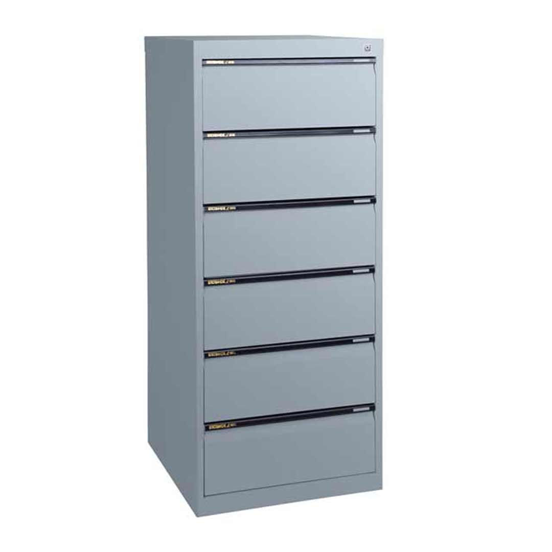 Statewide 6 Drawer Legal File Storage Office Steel Cabinet 610mm Deep Aussie Made Life Time Warranty Silver Pearl