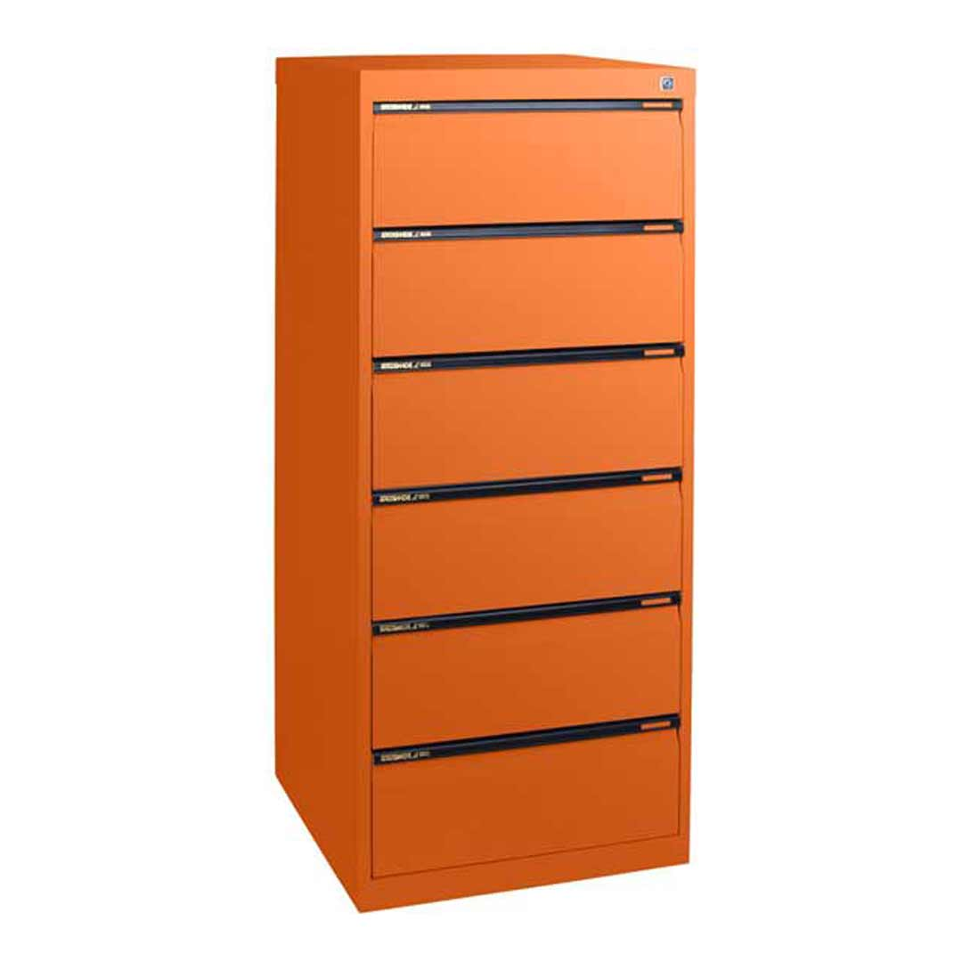 6 Drawer File Storage Office Steel Duplex Card Cabinet 610mm Deep Aussie Made Life Time Warranty Orange