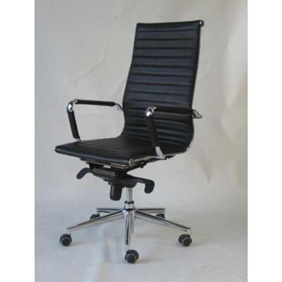 Chairlink Leather Office Desk Chair Executive High Back with Arms 2 Way Gas Lift & Aluminium Base Chairs Oslo Black