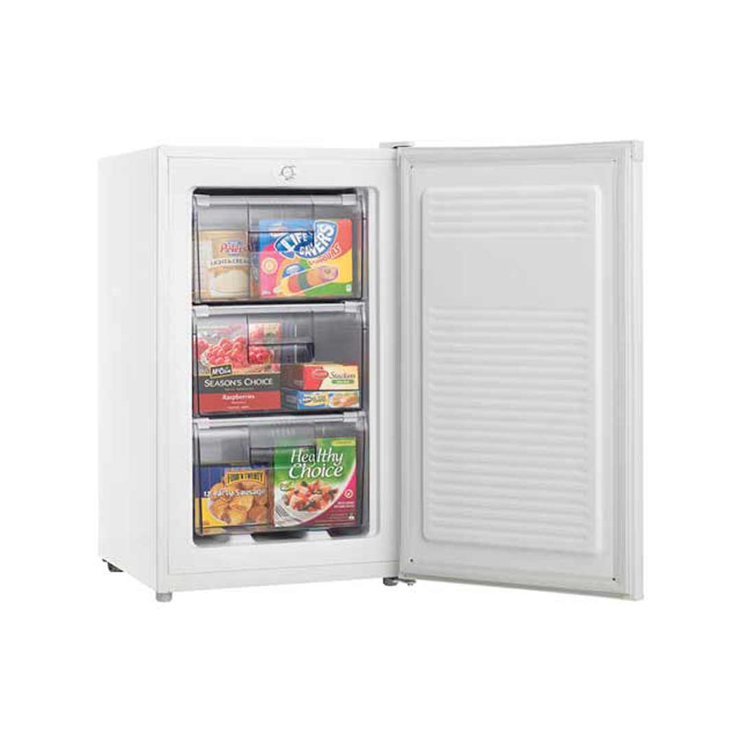 Heller 80L Upright Freezer w 3 Plastic Drawers White HF80