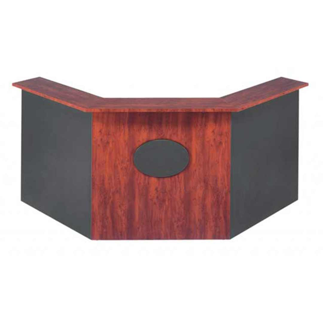 Merlin Angle Reception Office Desk Redwood Ironstone 1800/750 x 1800/750mm
