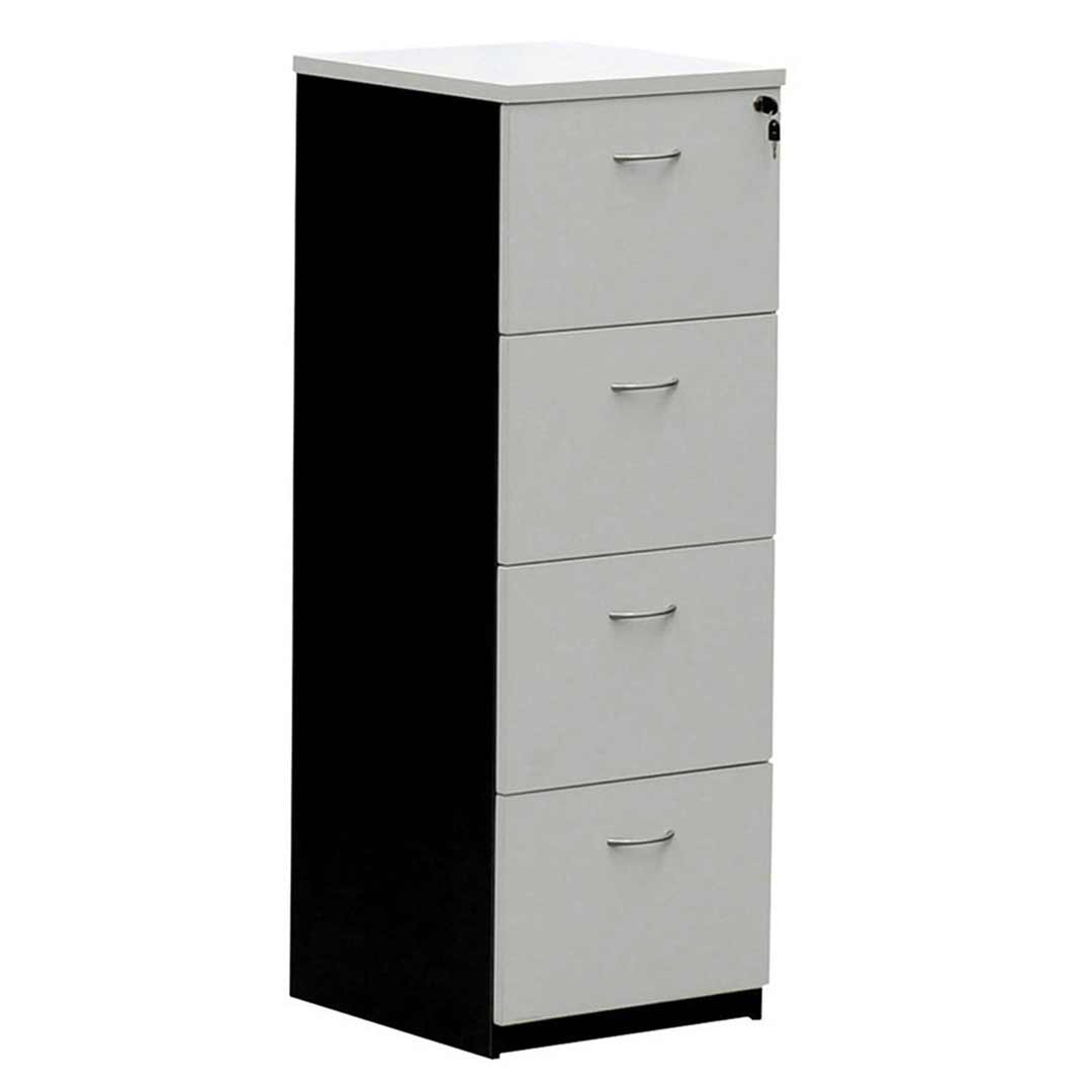 Swan Lockable 4 Drawer Filing Cabinet Charcoal / White