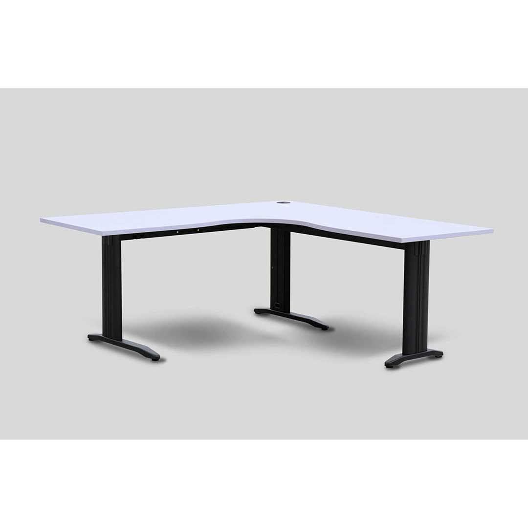 Workstation Computer Table Corner Desk Metal Frame Silver Grey Top 1800 L x 1800 W x 700mm D