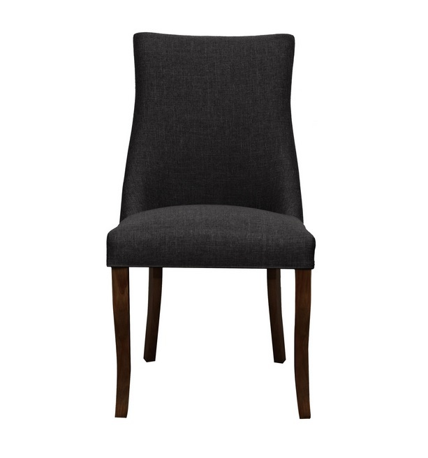 Hudson Timber Dining Chair Dark Walnut with Graphite Fabric Padded Seat 1430 FGW