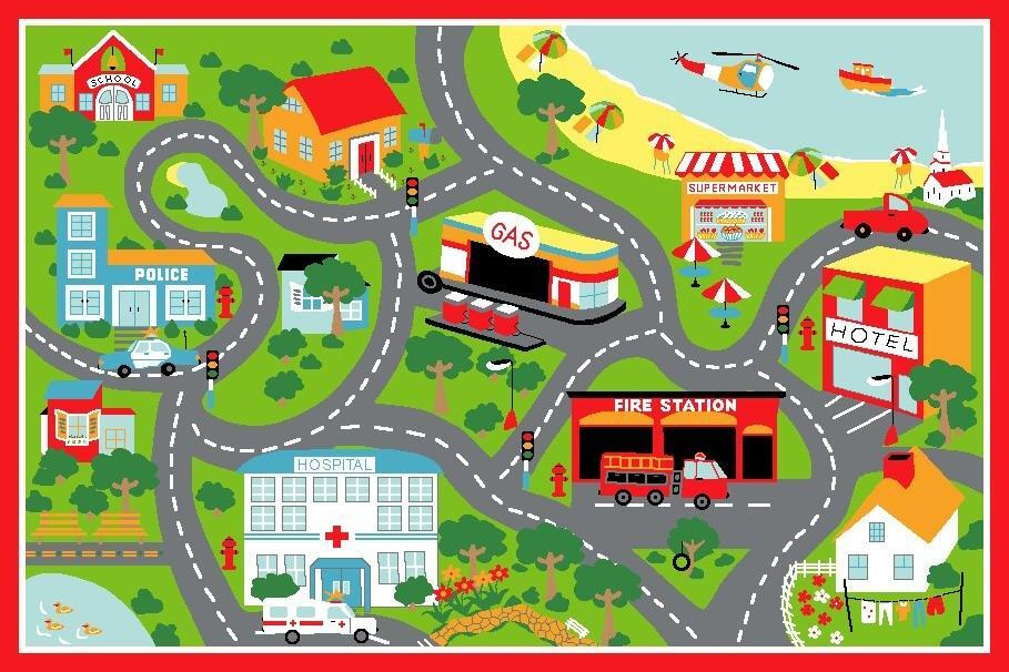 Kids Non Slip Road Map Beach Flooring Rug Area Carpet Red 150x100cm