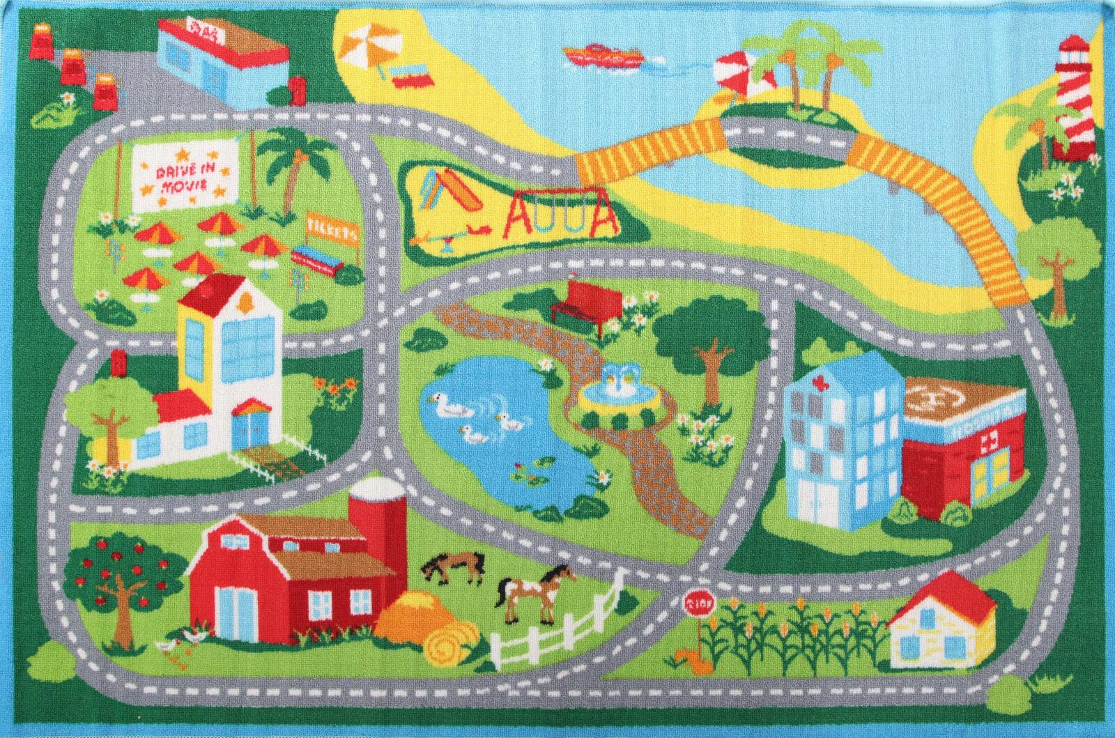 Kids Non Slip Road Map Beach Flooring Rug Area Carpet Blue 150x100cm