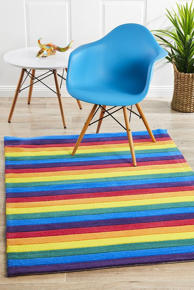 Beautiful Stripped Rainbow Kids Flooring Rug Area Carpets 165x115cm