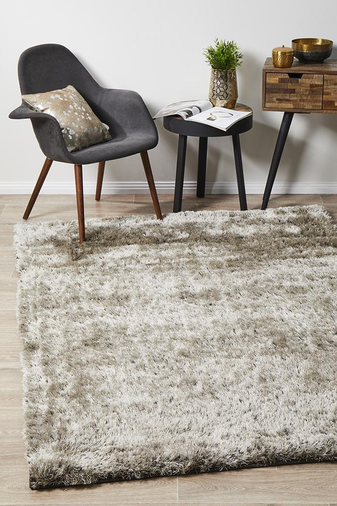 Rug Culture Twilight Shag Flooring Rugs Area Carpet - Stone 225x155cm