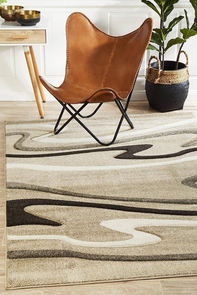 Modern Swirls Flooring Rug Area Carpet Beige 290x200cm